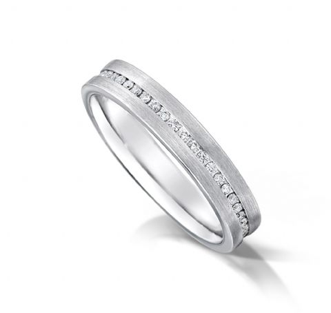 Channel set flat court eternity/wedding ring, platinum. 3.5mm x 1.7mm. Full coverage